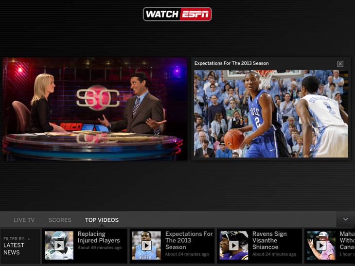 WatchESPN iOSAppUpdate TopVideos 081513 730x547 WatchESPN for iPad now serves up stats, scores and on demand clips via a live toolbar