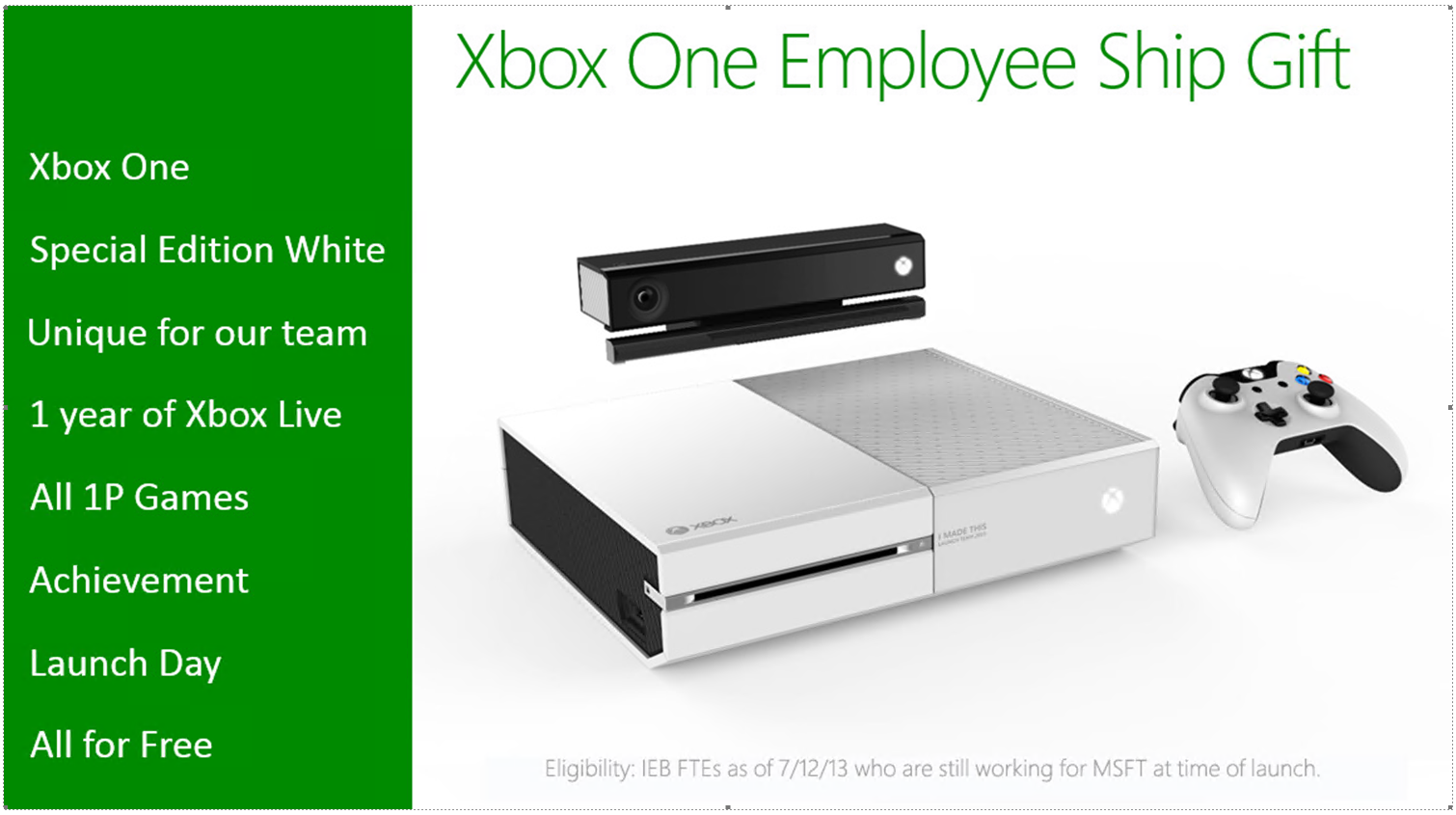 XboxOneWhite Microsoft rumored to be offering some employees free white Xbox Ones