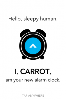 a8 220x330 Carrot Alarm for iPhone: Whatever you do, dont hit the snooze button...
