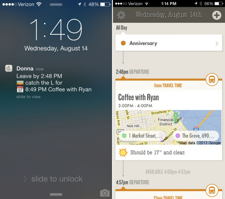 donna 730x645 Mobile personal assistant app Donna now has public transit advice, all day events, and more