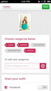 looks app add your outfits 220x390 Looks for iPhone lets you tag and categorize your wardrobe, filtering outfits to suit the occassion