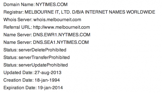 nytimes melbourne 520x299 Domain registrar Melbourne IT at center of SEA meddling with New York Times, Twitter