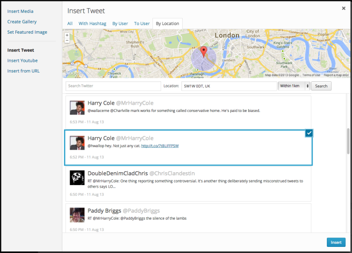 twitter search Automattic takes on Storify with WordPress Media Explorer for curating tweets and YouTube videos