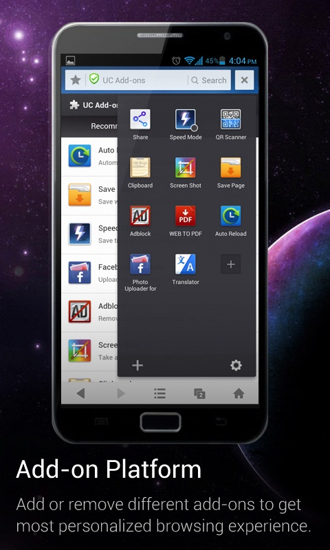 1. add on en UC Browsers tablet version now allows seamless switch between incognito and regular browsing