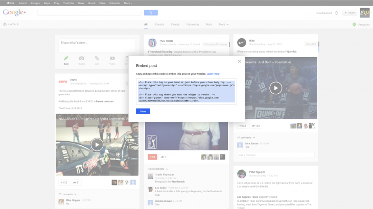 Copy of embed post code 730x410 Google debuts updated Authorship program and adds embeddable posts, all using Google+ Sign In
