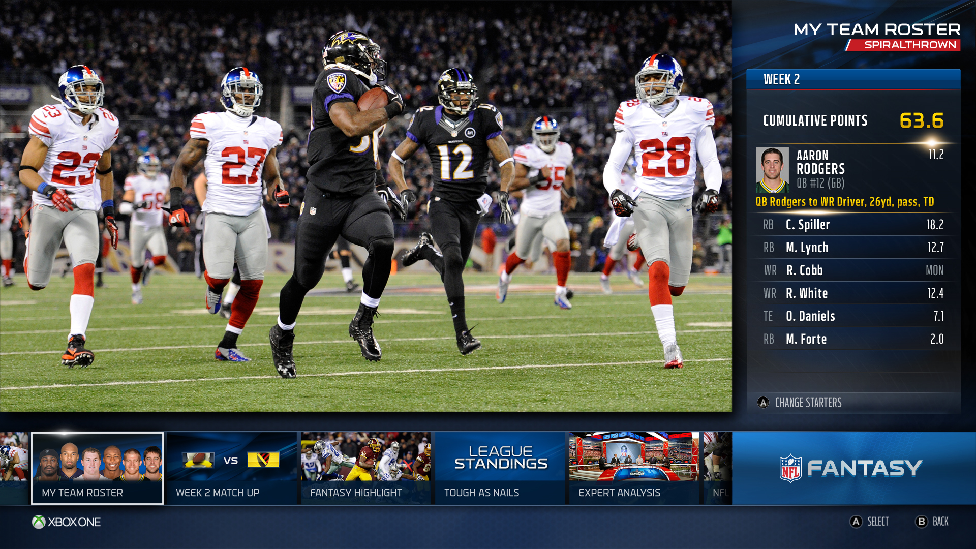 Fantasy TeamRoster Microsoft details the new NFL and ESPN apps for American football fans on Xbox One