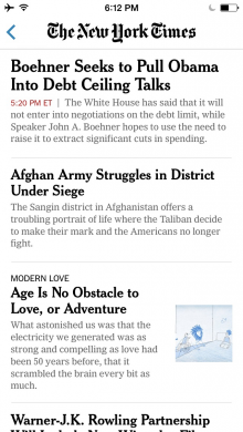 NYTtopnewsiphone 220x390 The New York Times updates its apps for iOS 7, with cleaner design and AirDrop for article sharing