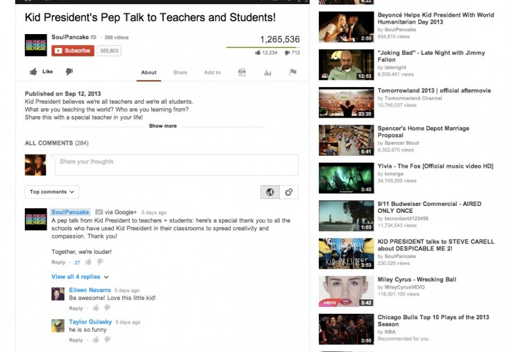 ScreenShot1Embargoed9 24 730x506 YouTube comments will soon tie in with Google+ and be sorted by relevance rather than date order