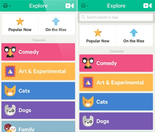 Vine Explore iOS Before and after: The best iOS 7 app redesigns