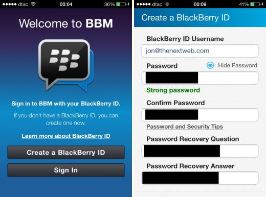 bbm 1 520x386 Hands on with BlackBerrys BBM app for iOS