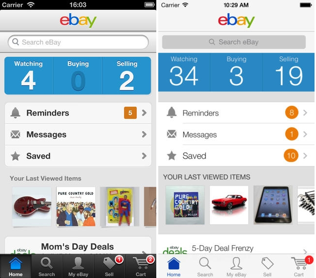 eBay iOS7 compared Before and after: The best iOS 7 app redesigns
