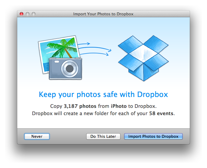 iPhoto splash Dropbox can now automatically save your screenshots when you take them, and import photos from iPhoto