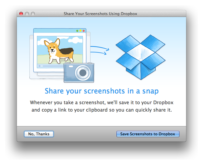 margoscreenshots Dropbox can now automatically save your screenshots when you take them, and import photos from iPhoto