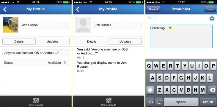 profile and broadcast 730x361 Hands on with BlackBerrys BBM app for iOS