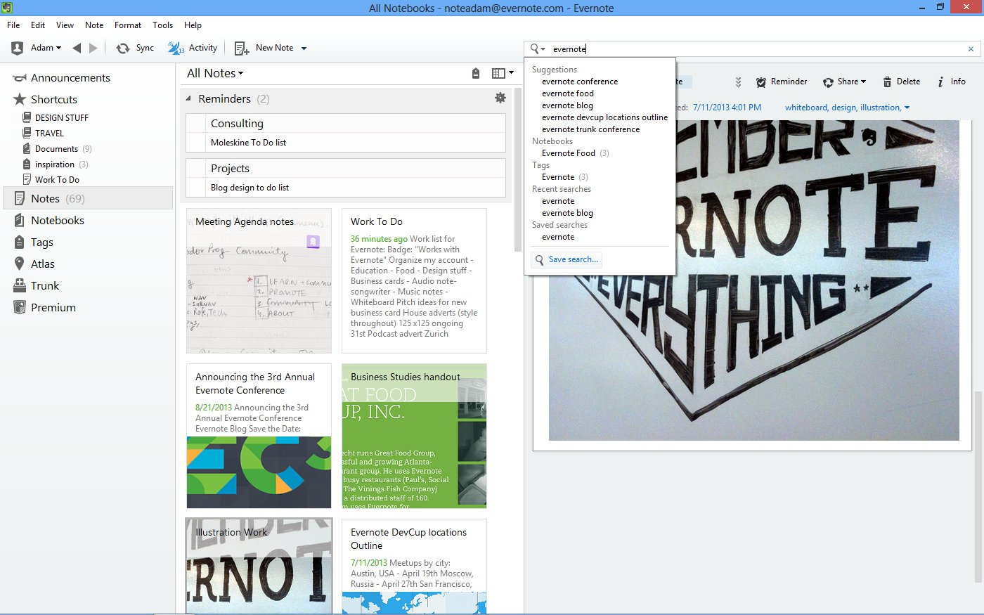 save search Evernote 5 for Windows launches with a flat design, reminders, related notes and shortcuts panel