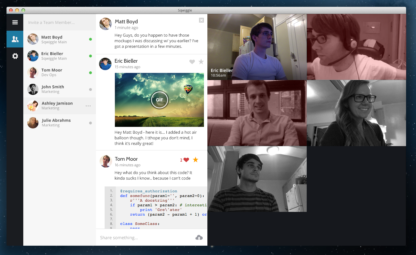 2013 10 16 at 4.31.24 PM Sqwiggle redesigns its browser based remote workplace app with larger videos, a cleaner UI and more