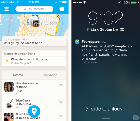 6 4 small Foursquare is rolling out its real time recommendations feature to a select number of iPhone users