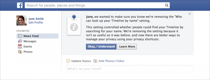 Screen shot 1 730x278 Reminder: Facebook is removing its Who can look up your Timeline by name? feature