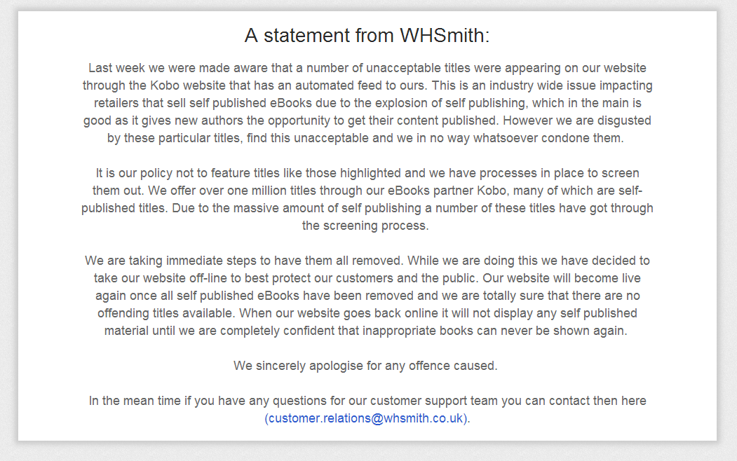 WHSmith Kobo temporarily removes self published eBooks in response to controversial pornographic content
