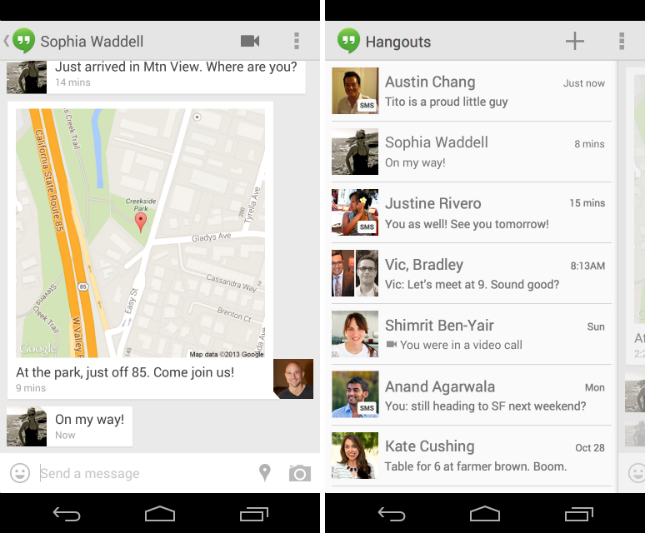 hangouts11 Google Hangouts 2.0 for Android is out with SMS and MMS support, animated GIFs, location and status sharing