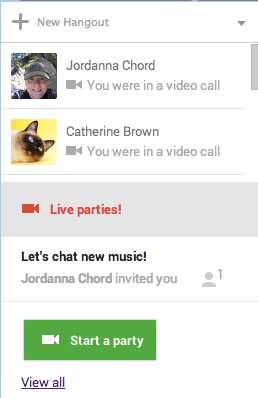 openPromo Google+ now shows you which Hangout party video calls you can join from within the Hangouts sidebar