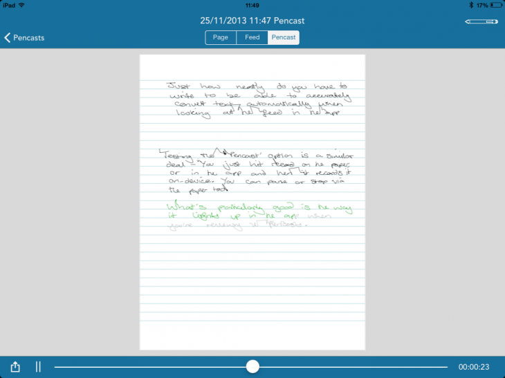 Livescribe pencast 730x547 Livescribe 3 review: A truly smart pen, but a demanding one too