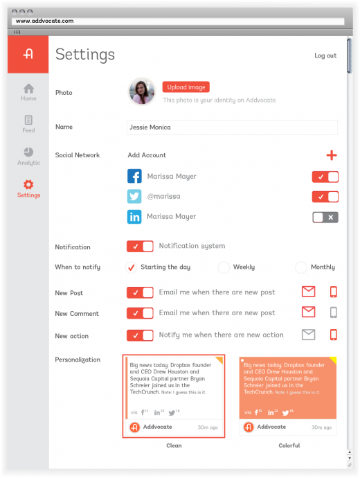 Settings 520x690 Addvocate to launch refresh of its employee advocacy platform and integrate with Salesforce Chatter