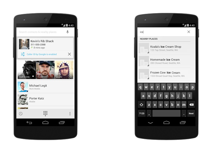 kitkat dialler KitKat shows caller IDs from Google Places, Apps customers; adding personal accounts in early 2014