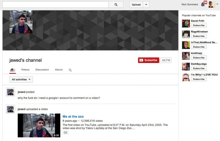 resource 730x470 YouTube co founder Jawed Karim asks: Why the f*** do I need a Google+ account to comment on a video?