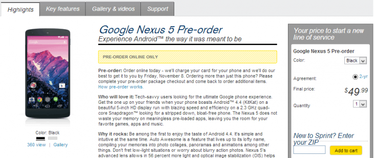 sprint nexus 5 preorder 730x309 Sprint begins taking Nexus 5 pre orders for $49.99 with two year contract, ships on November 8