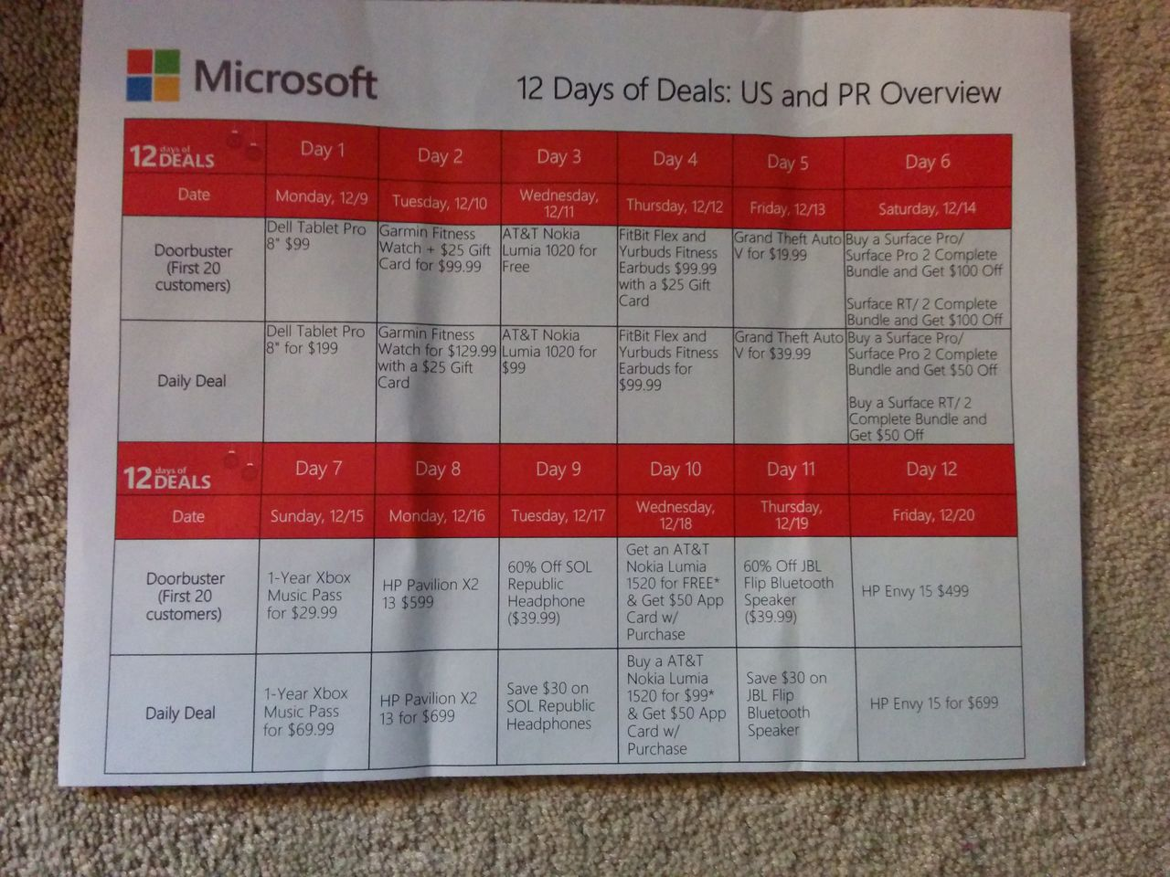Microsoft Store '12 Days of Deals' promotion in the US allegedly leaks