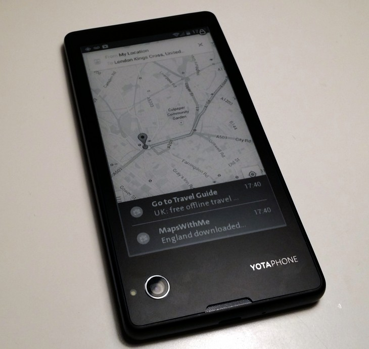 YP rear map 730x690 Hands on with the dual screen YotaPhone, the rarest of Android handsets: a smartphone/e reader hybrid