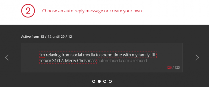 autorelaxed message 730x304 Relaxed will automatically respond to Twitter and Facebook messages on your behalf this Christmas