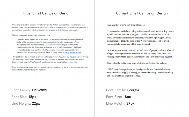 email campaign comparison 730x453 The science behind fonts (and how they make you feel)