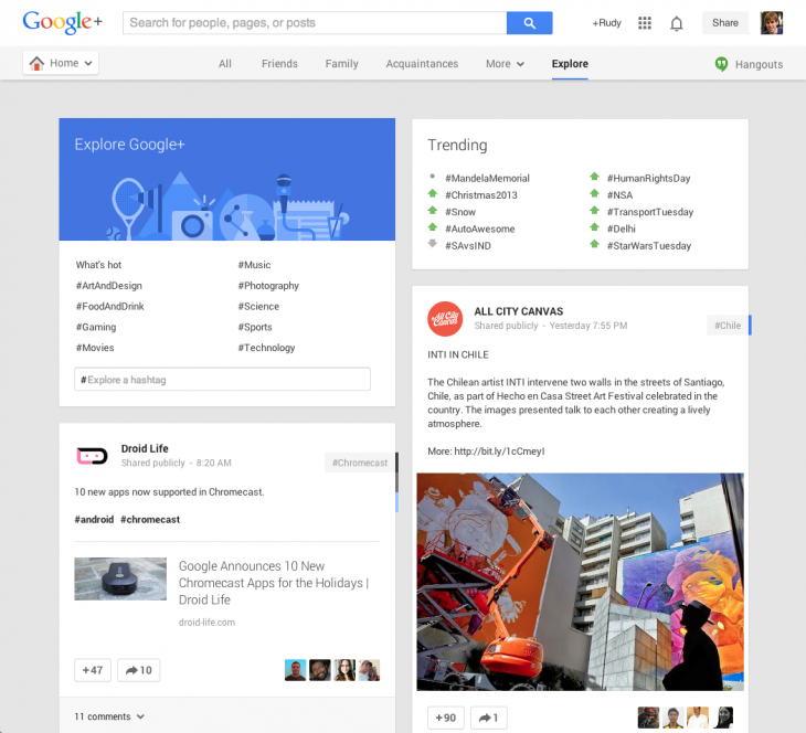 explore desktop 1 alt 730x664 Google+ gets a new Explore experience on the Web, promotes major topics and content discovery
