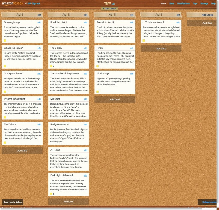 Amazon Storybuilder launches in beta, gives writers a virtual corkboard to map out their next script
