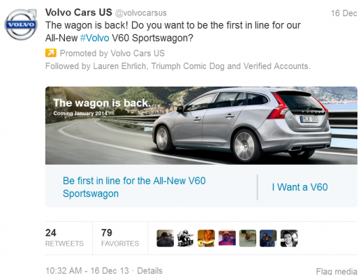 volvo 520x394 Twitter appears to be testing app store links and other customized links within promoted tweets