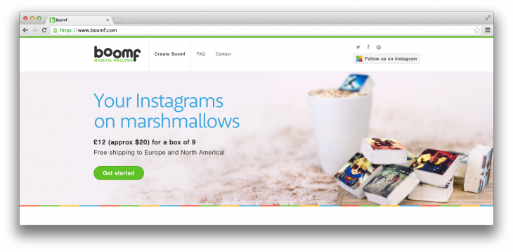 Boomf website 730x358 James Middleton, brother of the Duchess of Cambridge: The man behind Boomf's Instagram marshmallows