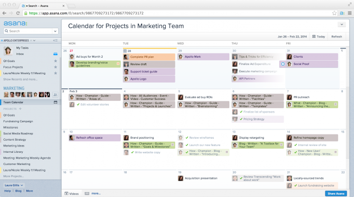Calendars in Asana 1 team wide view 730x406 Asana introduces Calendars, a visual way for teams to better understand project deadlines and tasks