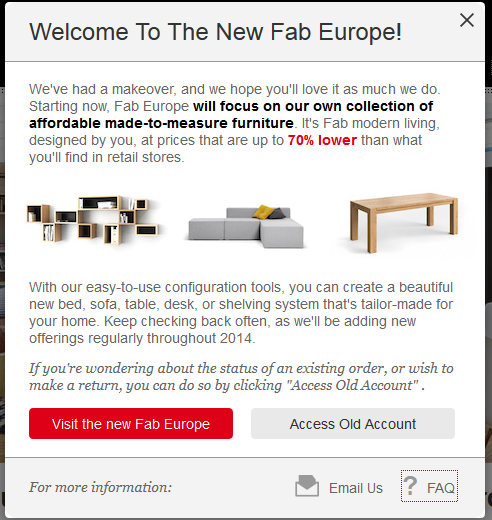 FAB Fab takes a break from selling third party designed products in Europe