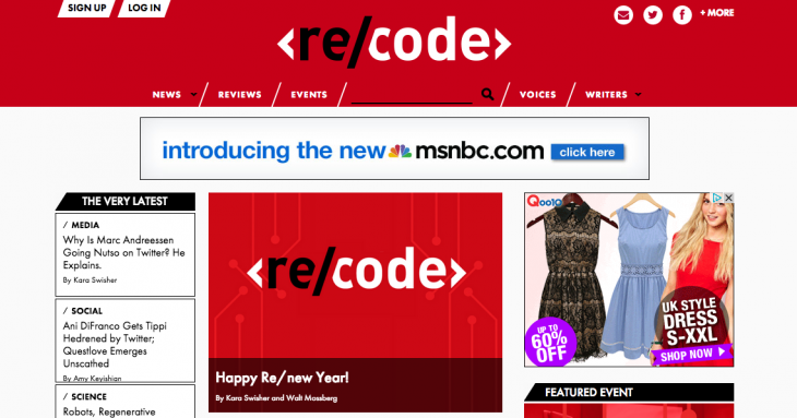 Screen shot 2014 01 02 at PM 01.39.03 730x383 Re/code, a new tech website launched by Kara Swisher and Walt Mossberg, is now live
