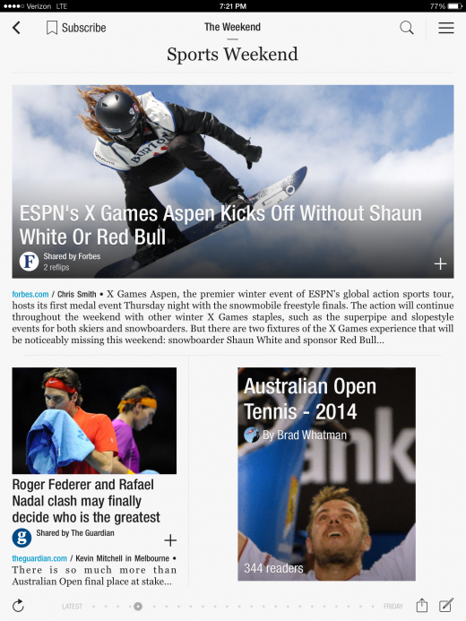 TheWeekendSports 520x693 Flipboard redesigns Cover Stories to help surface interesting content from your subscriptions