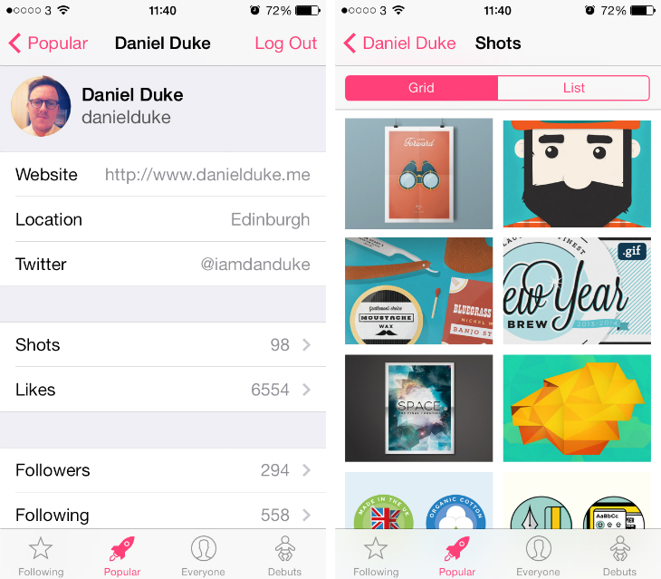 basket2 Basket for iPhone: If Dribbble made an app for its influential design platform, it would look like this