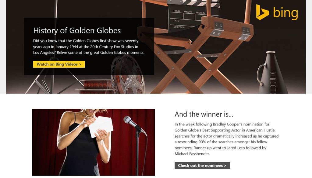 bing.com awards 711CC0C7 Microsoft launches Bing Awards to track ceremonies like the Golden Globes, the Grammys, and the Oscars