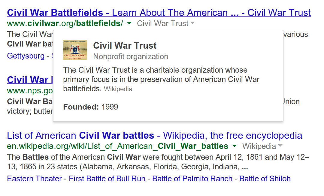 site cred blog post photo civil war battlefields zoomx2 Google Search for desktop gets new Knowledge Graph option to see more information about websites in results