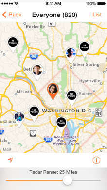 socialradar 2 220x392 SocialRadar's iPhone app helps locate your friends by tapping into a range of social networks