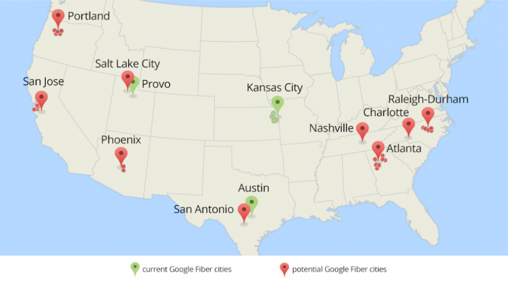 1200map updated green2 730x408 Google wants to bring Google Fiber gigabit Internet to 34 new cities in the US