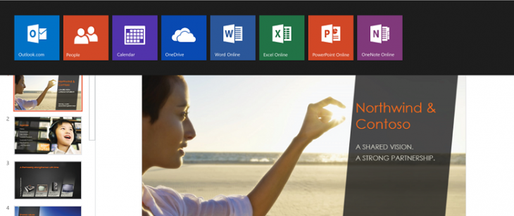 AppSwitcher Crop 780 730x307 Microsoft rebrands Office Web Apps as Office Online, and opens up access at Office.com