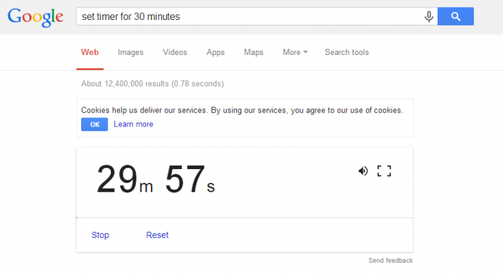 Google timer 730x397 Countdown timer returns to Google Search on the desktop