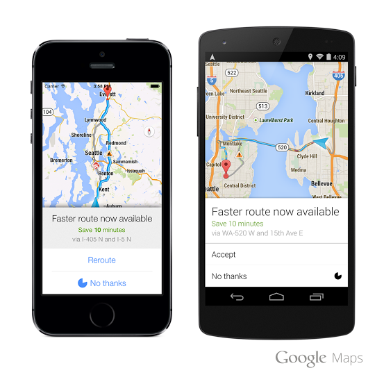 Navigation with Dynamic Rerouting  - Google Maps for Android and iOS now alerts you when a faster route becomes available